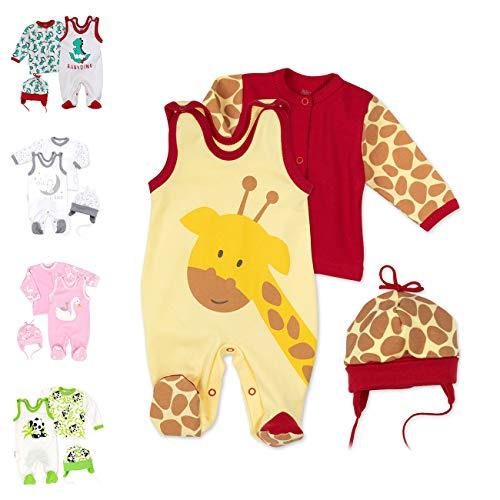 Baby Sweets  3er Baby-Set mit Strampler, Shirt & Mütze für Jungen & Mädchen Erstausstattung als Strampler-Set im Giraffen-Motiv, 68, Gelb Braun Rot - Baby Giraffe