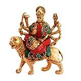 Purpledip Hindu Religious Goddess Durga Sherawali Ma Statue: Sculpted in Solid Brass Metal with Spectacular gemstonework: Hindu Religious Gift (11076)