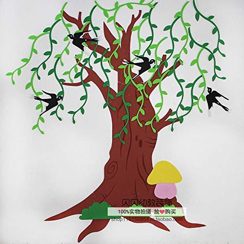 Decoración de aula espuma árbol grande etiqueta de la pared-mimbre golondrina árbol_Mimbre 27 * 4 cm Golondrina 14 * 10 cm, un total de 4