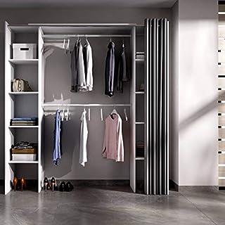 Ventemeublesonline Armoire Dressing Welles avec Rideau Blanc
