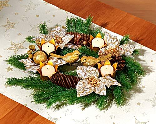 Holzdrehteile Adventskranz Weihnachtsgesteck Weihnachten Dekokranz Tischdeko 28 cm goldfarbig