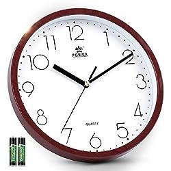 Silent Wall Clock Non-Ticking, 10 Inch Modern Wall Clock, Quartz Movement, Analog Wall Clock with 2 AA Batteries (Red Wood Grain) by Laigoo