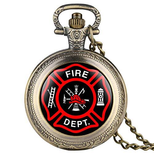 HANXIAO Taschenuhren Fashion Fire Fighter Taschenuhren Halskette Anhänger Casual Herrenuhren Clock Gifts-1 Bronze