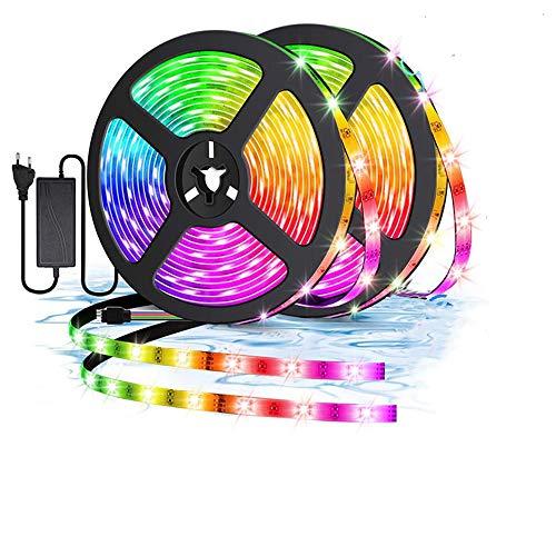 LED Strip,10M (2x5M) Bluetooth LED Streifen, RGB LED Strip Wasserdicht , LED Leiste Lichtband mit 16 Farbwechsel, Musik synchronisieren, 4 Modi, für Haus, Party, Bar,TV und Feriendekoration