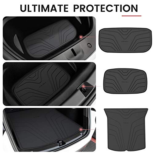 Farasla All Weather Cargo Mats for Tesla Model Y - Non-Slip Protective Liners(Set of 3)