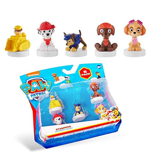 PAW Patrol Deluxe 5-Pack Figures with Stampers - Mess-Free, Paw Patrol Birthday Cake Toopers Decorations, Party Favors - Including Skye and Chase - Mini Figurines Stand 2.5 to 3 in. Tall