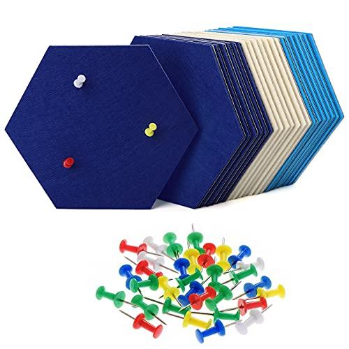 HonGien 21 piezas de tablero de fieltro de corcho (combinación azul y blanco) tablero de anuncios hexagonal autoadhesivo con 30 chinchetas utilizado para exhibir notas dibujar decorar paredes