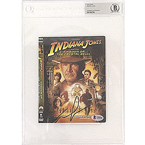 George Lucas Signed Indiana Jones Kingdom of the Crystal Skull DVD Cover Beckett Slabbed Autographed