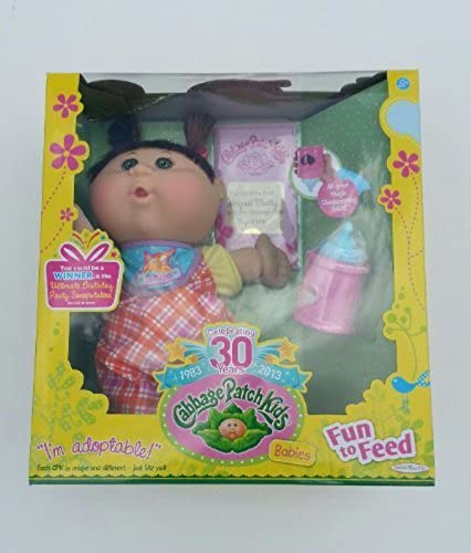 30th Celebration Cabbage Patch Kids Fun To Feed Baby Girl with braun Pigtails by Jakks