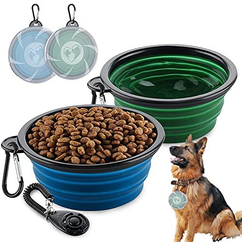 2 cuencos para perros plegables, de viaje, a prueba de fugas, con tapa y ganchos, de silicona, para gatos, perros y mascotas, para agua y comida con entrenamiento de clic (450 ml)