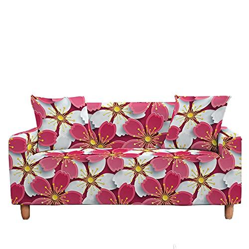 Meiju Fundas de Sofá Elasticas de 1 2 3 4 Plazas Flores Ajustables Antideslizante Cubierta de Sofá Lavable Extensible Funda Cubre Sofas Furniture Protector (Flores Cerezo,1 Plaza - 90-140cm)
