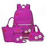 Pahajim Mochila de Lona Con Cremallera Mochilas Backpack Casual Set Mochila Infantil Para Niña, Con Bolsa Para Almuerzo y Bolsito Para El Móvil (Rosa Rojo)