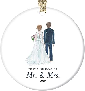 Bride & Groom Ornament 2019 First Christmas as Mr. & Mrs. 1st Married Christmas Bridal Shower Wedding Gift 3