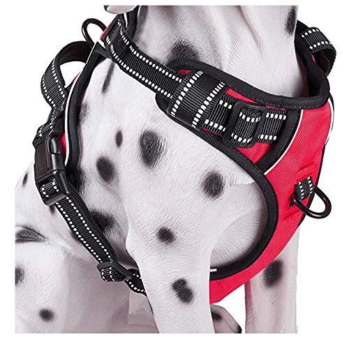 WFGG Correa para el pecho para mascotas mediana y grande Correa para el pecho de perro, correa reflectante tipo chaleco de tracción, correa para el pecho -Red_Xl