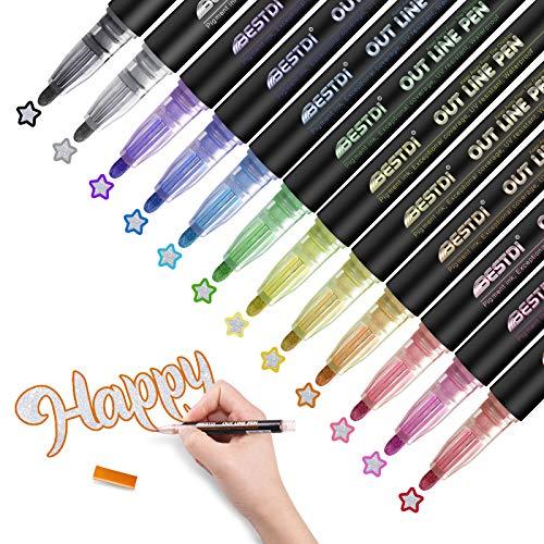 Double Line Outline Pens, 12 Farben Outline Stifte Metallic Glitzerstifte für Geburtstagskarten, Weihnachten Geschenkkartenherstellung, Schreiben, Malerei, Handwerksprojekte, DIY-Fotoalbum