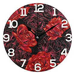Dozili Valentine's Day Rose Flower Pattern Round Wall Clock Arabic Numerals Design Non Ticking Wall Clock Large for Bedrooms,Living Room,Bathroom