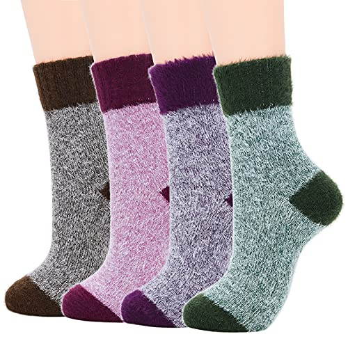 Womens Hiking Socks Winter Warm Athletic Socks Outdoor Wool Socks Thick Running Socks 4 Pack Candy Color