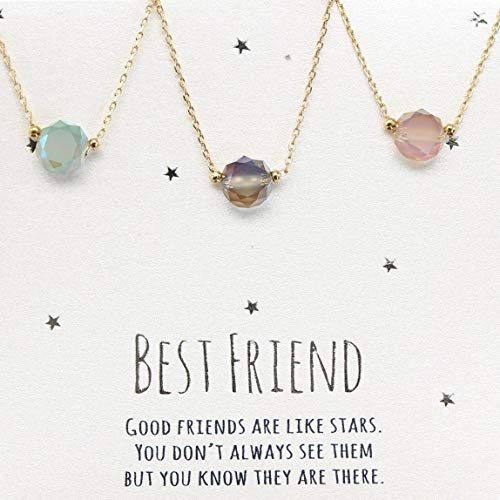 Best friends necklace for 3, BFF Necklace, friendship necklace for 3, Gold dainty necklace, simulated gemstone necklace, gray necklace, tiny gemstone, dot necklace