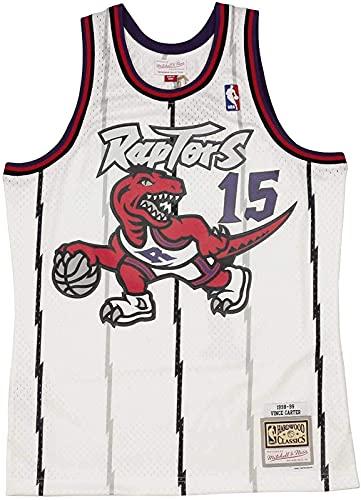 ALXLX Jersey Men's, Ness Vince Carter 15 Replica Swingman NBA Jersey Toronto Raptors Blanco HWC Baloncesto Trikot, White - XL