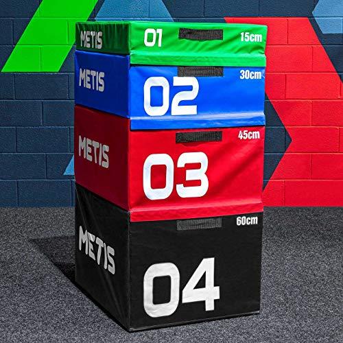 METIS Plyometric Jump Box | Stackable Plyo Box Set - Home & Gym Fitness Equipment | Premium Soft Foam Exercise Step & Box Jump | 15cm/30cm/45cm/60cm/Full Set (60cm (Black))