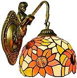 XUHRA Tiffany Rústica Lámpara De Pared De Cortina del Vidrio Manchado Flor Sol Y Metales Básicos, Sala De Sirena Balcón Corredor