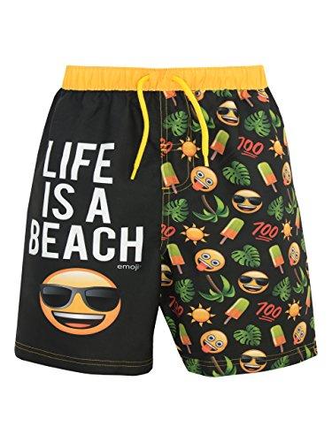 Emoji Jungen Sonne und Palmen Badeshorts Schwarz 158