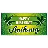 Marijuana Yellow Sunray Birthday Banner Personalized Party Backdrop Decoration