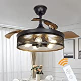 Depuley Industrial Ceiling Fan with Lights, 42' Black Ceiling Fan with Remote, Vintage Cage Ceiling Light Fixture with Retractable Blades for Kitchen, Dining Room, Living Room, 5 E26 Base(No Bulbs)