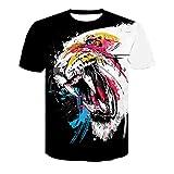 XDJSD Camiseta para Hombre Camiseta Corta Camiseta De Manga Corta para Hombre Camiseta De Gran Tamaño para Hombre Camiseta Suelta Informal De Color Sólido Camiseta con Estampado De Tigre
