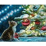 Pintura por números para adultos niños, pintura al óleo de bricolaje, kits de pinceles, pintura para decoración de la pared del hogar 2476 árbol de Navidad de gato