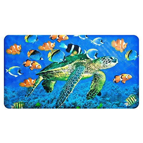 OTHWAY rutschfeste Badematte, PVC-Badewannenmatte Duschteppich Mit Leistungsstarken Saugnäpfen Massagefunktion Babywannenmatte 70x40cm (Meeresschildkröte)