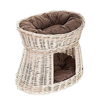 Lit,niche en osier blanc avec coussins maron pour chat, Panier ovale, maison en osier à deux étages, tour pour chat
