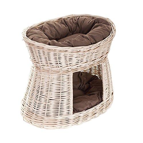 Ovale Katzenhütte in Beige, Katzenkorb aus Weide, Korb für die Katze mit zwei Etagen, Katzenlager mit Kissen, Katzenturm
