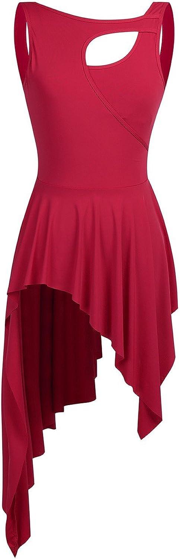 FEESHOW Women's Sleeveless Irregular Dancewear Sweetheart Cut Out High Low Skirt Lyrical Modern Contemporary Dress