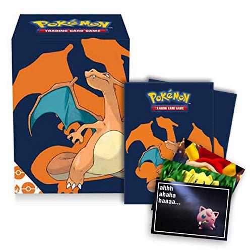Lively Moments Pokémon Ultra Pro Deck Box - Cartas de Pokémon + 65 fundas con diseño de Glurak + tarjeta de felicitación gratis