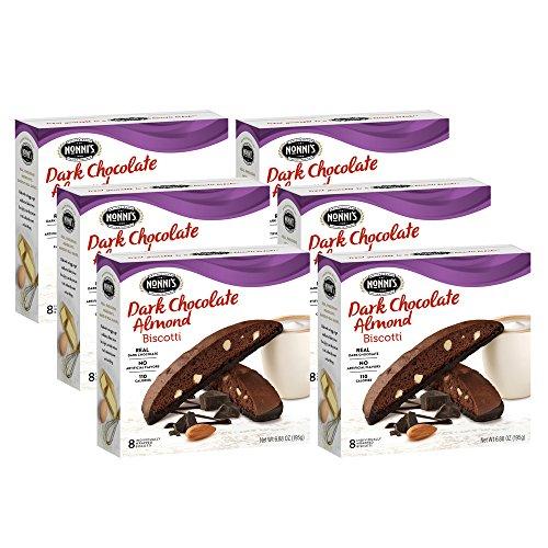 Nonni's Biscotti, Dark Chocolate Almond, 6 Boxes, 48 Biscotti Total