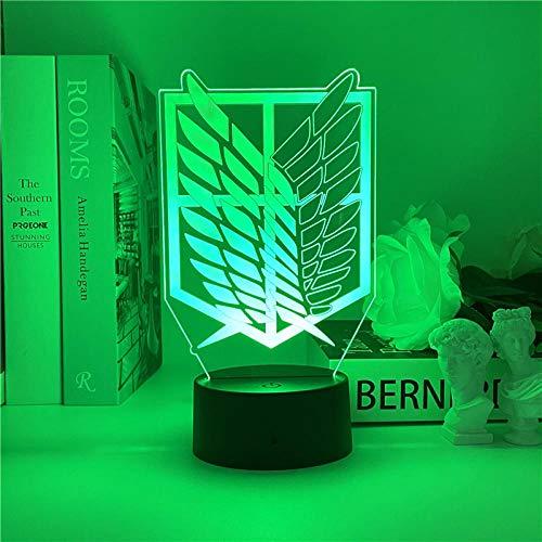 Luz nocturna 3D Attack on Titan Logo Anime Lámpara LED nocturna para niños dormitorio decoración cumpleaños regalo juguete Navidad escritorio lámpara de mesa 7 colores tocando