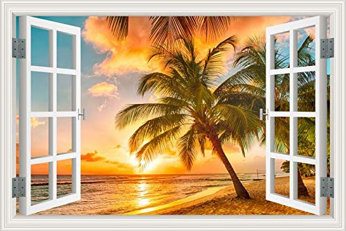 Summer Beach Sunshine Coconut Tree palm sunrise sunset sky sea clouds Paisaje paisaje etiqueta de la pared 3D Ventana view PVC Decal dormitorio decoración mural poster