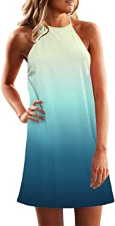 DIANEND Summer Dresses for Women Sleeveless Crew Neck Casual Loose Gradient Skirts