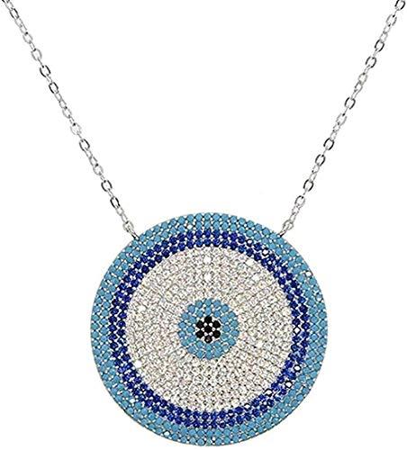 Collar para Mujer Hombre Collar de micro circonita cúbica Charm griego Color plateado Lucky Blue Eyes Collar Elegante Mujer Niñas Joyería para mujeres Hombres Regalo para mujeres y niñas Colgantes