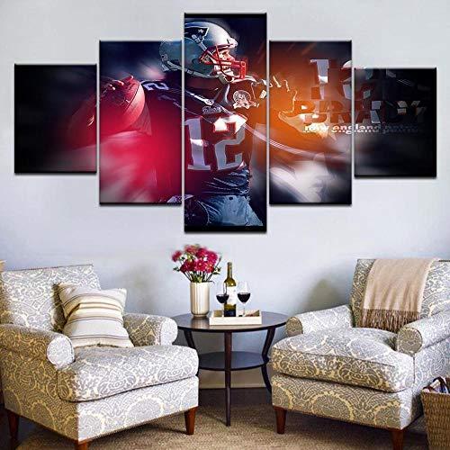 YFTNIPL Quadro 5 Pezzi Tom Brady Sport Poster Sport Immagine Arte HD Stampa Parete Camera Divano Sfondo Home Decor Murale Quadro Fotografica