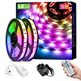 LE 10M LED Strip Lights with Remote, Dimmable, RGB Colour Changing, Stick-on LED