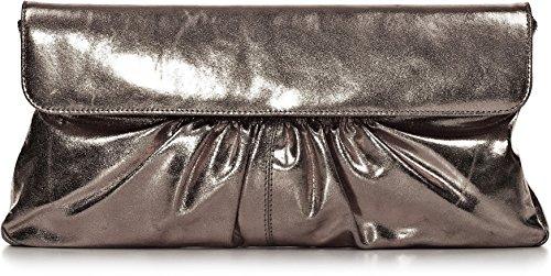 """Leder Clutch mit Metallic-Optik von \""""CNTMP\"""" Metallicleder Damen Leder Handtaschen, Clutch, Clutches, Clutchbags, Unterarmtaschen, Partybags, Trend-Bags, Metallic, Leder-Tasche, 37x21x2,5cm (B x H x T) Farbe:Anthrazit"""