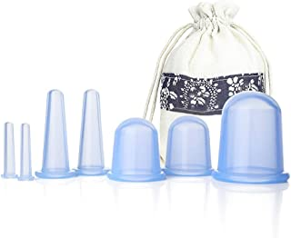 Facial Cupping Set Silicone Cupping Therapy Sets 7Pcs Anti-Cellulite Cup Vacuum Suction Massage Cups with Velvet Pouch for...