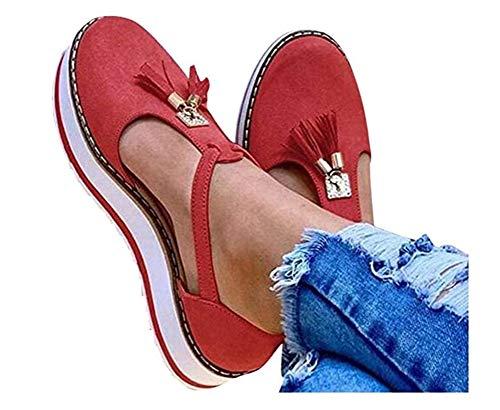Wxyfl Sandalias Planas Cuña para Mujer Alpargatas Plataforma Verano 2020 Zapatos Manera de La Borla del Talón Plano Antideslizante Beach Shoes Sandalias Slipper,Red,37