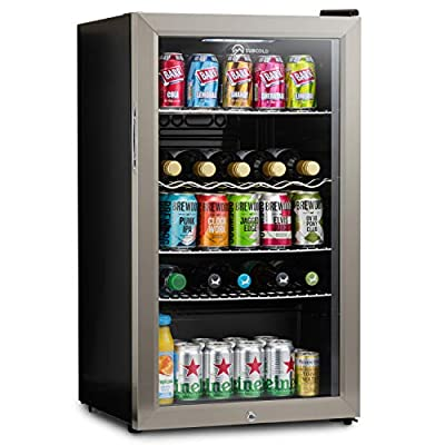 Subcold Super85 LED - Under-Counter Fridge | 85L Beer, Wine & Drinks Fridge | LED Light + Lock and Key | Low Energy A+ (Stainless Steel, 85L)