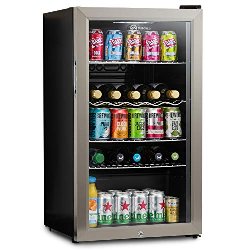 Subcold Super85 LED - Under-Counter Fridge | 85L Beer, Wine & Drinks Fridge | LED Light + Lock and Key | Energy Efficient (Stainless Steel, 85L)