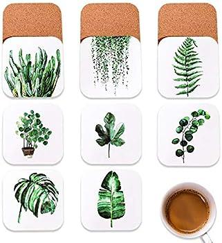8-Set Benice Tropical Plant Leaf Coasters