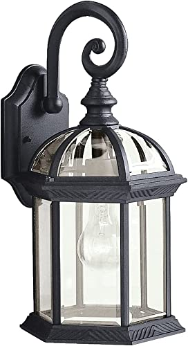 """lowest Barrie outlet online sale 15.5"""" 1 Light Outdoor Wall Light with wholesale Clear Beveled Glass in Black online"""