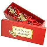 Echte Goldene Rose mit Widmung: Willst du mich heiraten?, überzogen mit 999er GOLD, circa 28 cm, mit Geschenkschatulle und Echtheitszertifikat